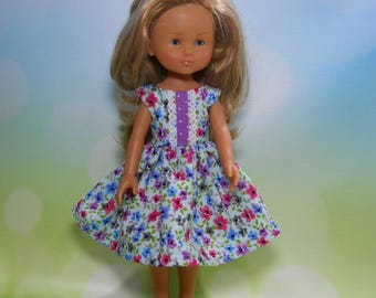 13 inch doll clothes made to fit dolls such as Corolle Les Cheries doll clothes, Blue Watercolor Floral Dress, 04-2005