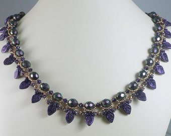 Woven Pearl Necklace with Purple Leaves and Swarovski Crystals