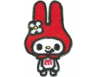 Kawaii My Melody Patch, Kawaii Sanrio Embroidered Iron On Patch, Japanese Cute Red Iron on Applique, Sanrio Patch, Embroidery Applique, W219