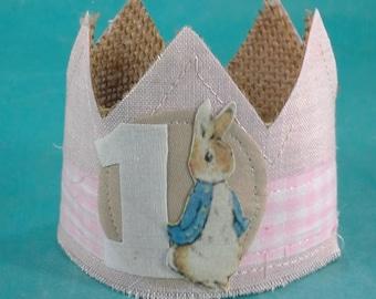 Peter Rabbit mini birthday crown, burlap, crown, one, A178 _ first birthday photo prop