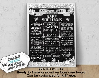 """PRINTED Baby Shower Poster, 11"""" x 14"""", 16"""" x 20"""", 18"""" x 24"""", Winter Snowflakes, Silver or Gold Color Scheme, Chalkboard Look, Ready to Frame"""