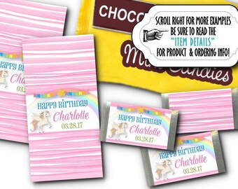36 Mini Candy Wrappers, Candy Favor Labels, Unicorn, Rainbow, Pastel Colors, Baby Shower, Birthday Party