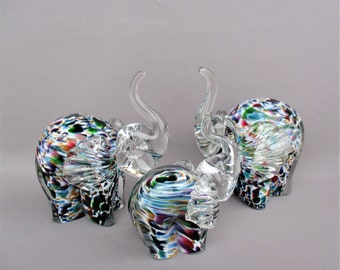 Hand Blown  Art Glass Elephant Family Figurine - Set of 3 -Multicolored