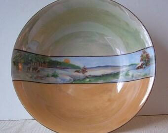 Luster ware Bowl Made In Germany, German Artist, Winter Scene Across Center, Light Blue and Gold Lusterware, 1940's, Depression Era
