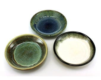 Ceramic shallow oil dipping bowl   olive plate   condiment dish - choose from 3 glaze options, handmade by Jason Hooper Pottery