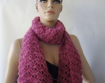 25% OFF Sequin Scarf, Crochet Scarf, Gift for Mom, Women's Scarves, Mauve Scarf, Mohair Scarf, Gift for Her, Hand Crocheted