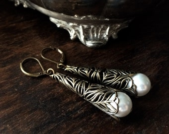Antique Style Brass Filligre Cone and Pearl Earrings