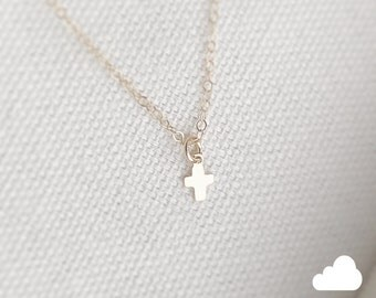 SALE - Tiny Cross Necklace in Gold - Little Dainty Cross Charm on Gold Filled - Faith Necklace - layering long the lovely raindrop