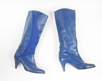 80s Knee High Boots Bright Cobalt Blue Leather Boots Suede Kitten Stiletto Tall Boots Rocker High Heel Pointy Toe Boots Size 6.5