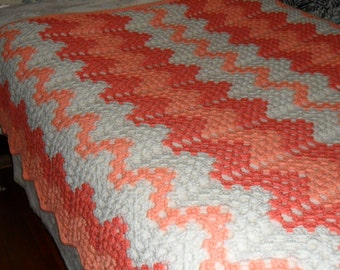 Queen(90inW x 60inL) Crochet Afghan - Crochet Blanket-Bedspread-Throw ''CONTEMPORARY GRANNY RIPPLE'' in Peaches and Cream
