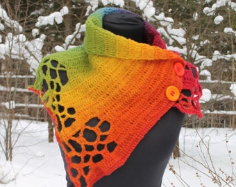 Boho Colorful Rainbow Chunky Crochet Cowl Scarf Capelet Neck Warmer with buttons, Winter accessories, Knit scarf