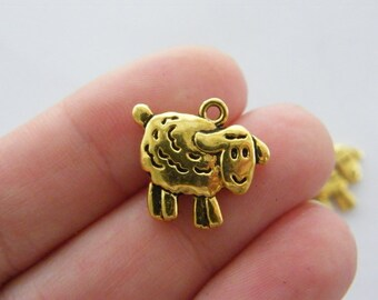 BULK 50 Sheep charms antique gold tone GC49