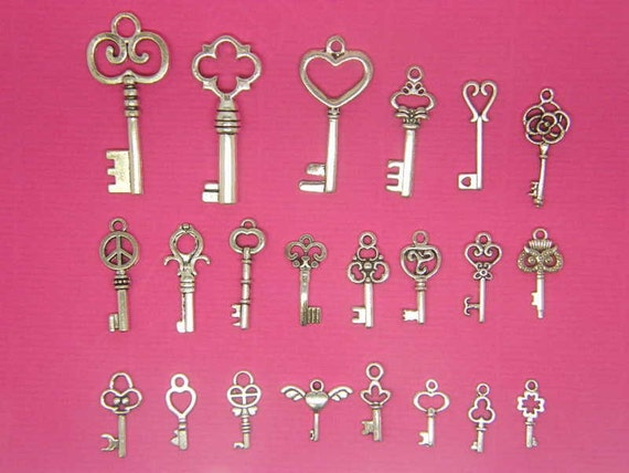 The Ultimate Key Charms Collection - 22 different antique silver tone charms