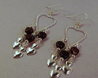 On Sale Twisted silver heart with Red Garnet hearts and silver heart Earrings