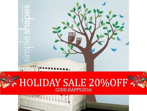 Tree with Two Owls and Butterflies Decal Set - Nursery Vinyl Wall Decal