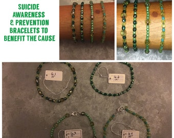 Suicide Awareness & Prevention Green Glass Bead Clasp Bracelets - Proceeds Go To The Overnight Walk - Great Gift