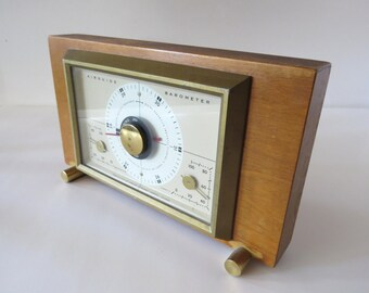 Vintage Airguide Barometer Wooden Frame, Desk or Table Top, Weather Prediction Device Gadget