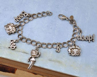 VINTAGE FIND 1990s sterling silver Betty Boop charm bracelet, sterling silver 925, doll charms, collector item, doll lover charms