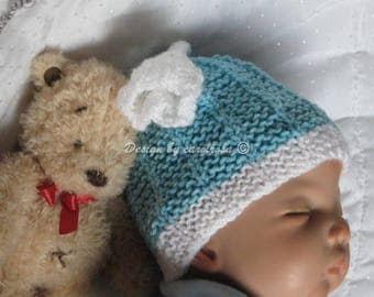 Knitting Pattern - Spring Tulip Hat in 3 sizes 6-9 mos and 1-2yrs, 2-3 yrs Instant download PDF Designer