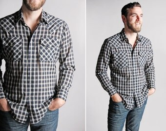 Vintage Men's Plaid Western Shirt - Button Up Woven Country Retro 1970's Black White Plaid Long Sleeve Southern Rodeo - Size Medium