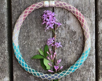 Ombre Necklace Pattern for Pink Purple Colorway - Single Stitch Bead Crochet Pattern & How to Crochet Instructions