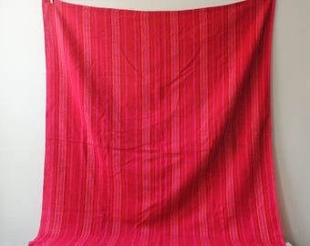 Vintage Pink Woven Table Cloth, Pink Fabric