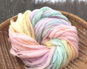 Pastel rainbow yarn handspun super bulky, self striping and thick and thin - 55 yards, 3 ounces and 86 grams