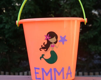 Personalized beach pail with mermaid and your child's name