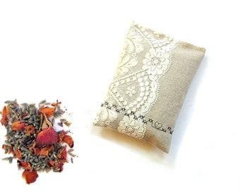 Lavender sachet bag, linen and lace sachet gift for her, lavender and rose buds, natural drawer freshener
