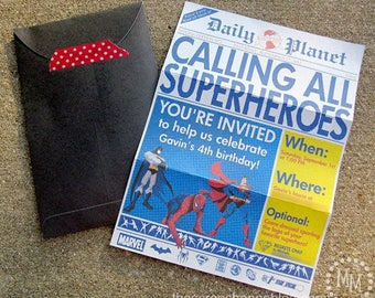 Superhero Newspaper Custom PRINTABLE Birthday Invitation