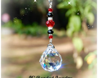 Red and Black Prism Crystal Suncatcher, Rearview Mirror Car Charm, Window Decoration Crystal Sun Catcher