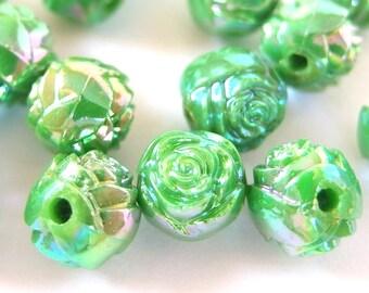 12 Vintage Apple Green Aurora Borealis AB Rosebud Beads, 10mm Acrylic Plastic Beads