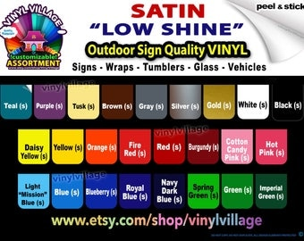 "sample master set 2""x2"" Satin ""low shine"" Adhesive Backed Vinyl for all Craft & Sign Cutters YOU PICK COLORS in any combination ""low gloss"""
