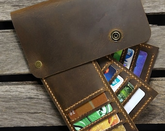 Personalized distressed leather Credit Card organizer holder / Business Card organizer holder -MCH005S