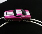 Pink and white '66 Mustang bolo tie