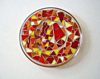 Mosaic Stained Glass Plate, Trivet, Candle Holder, Mosaic Plate, Mosaic Trivet, For The Home, Wedding, Anniversary, Housewarming, Birthday