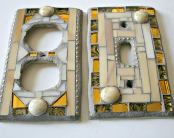 Mosaic Switch Plate and Outlet Cover Set, Stained Glass, Mirror, Neutral, Gold, Light Brown, For The Home, Small Art, Housewarming, Mosaics