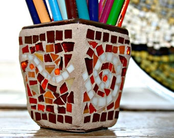 Mosaic Pot, Mosaic Stained Glass, Mosaic Flower Pot, Mosaic Holder, Desk Accessory, Gardener, Retirement, Anniversary, Gift - 3 Inches