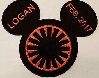 Star Wars Inspired Mousehead First Order Applique, perfect for any Star Wars fan or Disney visit. Personization available.