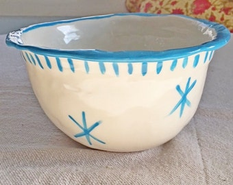Custom Bowl, Gift, Personalized, Mixing Bowl, Medium, Rustic Bowl, Blue, Star, Pottery, Valentine, Gift, Inscribed