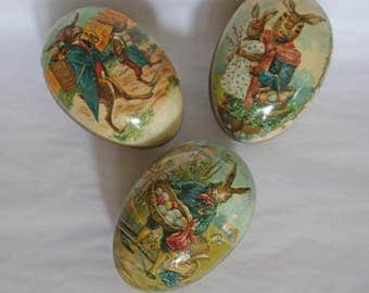 "German ""Antique Easter Bunny Egg"" Paper Mache Candy Containers Set of Three"