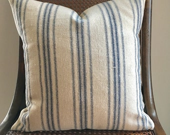 Grain Sack Pillow Cover Blue Stripes