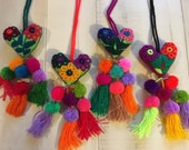 Mexican  Embroidered Felt Hearts with Pompoms and Tassels