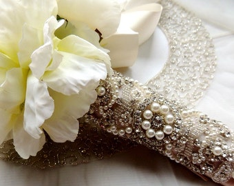 Bridal Bouquet Jewelry Crystal Beaded Embellishment Wrap Applique with Pearls