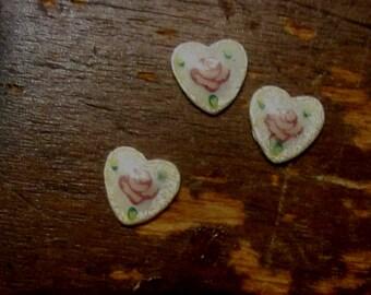 Vintage Guilloche Rose Heart Dresden Enamel Cabochon Set of 3 White Tiny