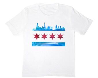 Chicago Skyline Flag Kids Shirt
