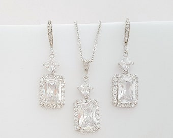 Crystal Bridal Set, Emerald Cut Wedding Jewelry, Square Dangle Drop Bridal Earrings, Crystal Wedding Pendant, Alice Set