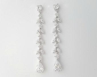 Wedding Earrings Long Crystal Teardrop Earrings Bridal jewelry Cubic Zirconia Leaf Earrings Rose Gold Wedding Earrings, Katie