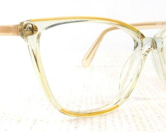vintage deadstock 60s cat eye eyeglasses yellow acetate frames vogart glasses eyewear crystal clear opaque cateye italian designer italy 206