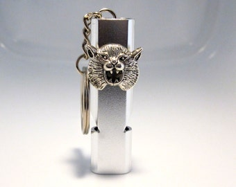 Silver Lion Keychain Whistle Necklace